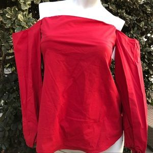 Theory off shoulder long sleeve blouse burgundy